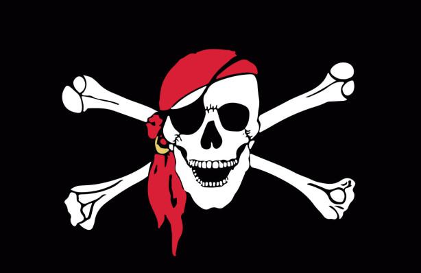 Прапор Веселий Роджер у червоній пов'язці (jolly-roger-4)